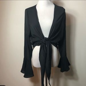 Nasty Gal black bell sleeve front tie top blouse